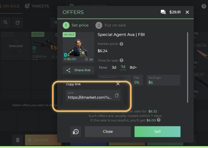 Share button on DMarket