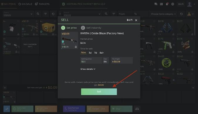 Sell Skins Now Modal on DMarket